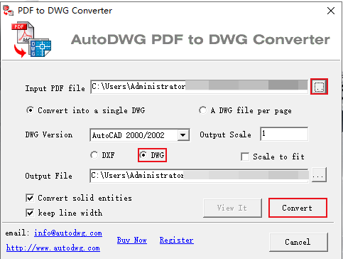 how to convert PDF to dwg with autodwg