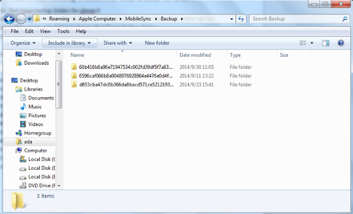 find the backup files on windows to change itunes backup location