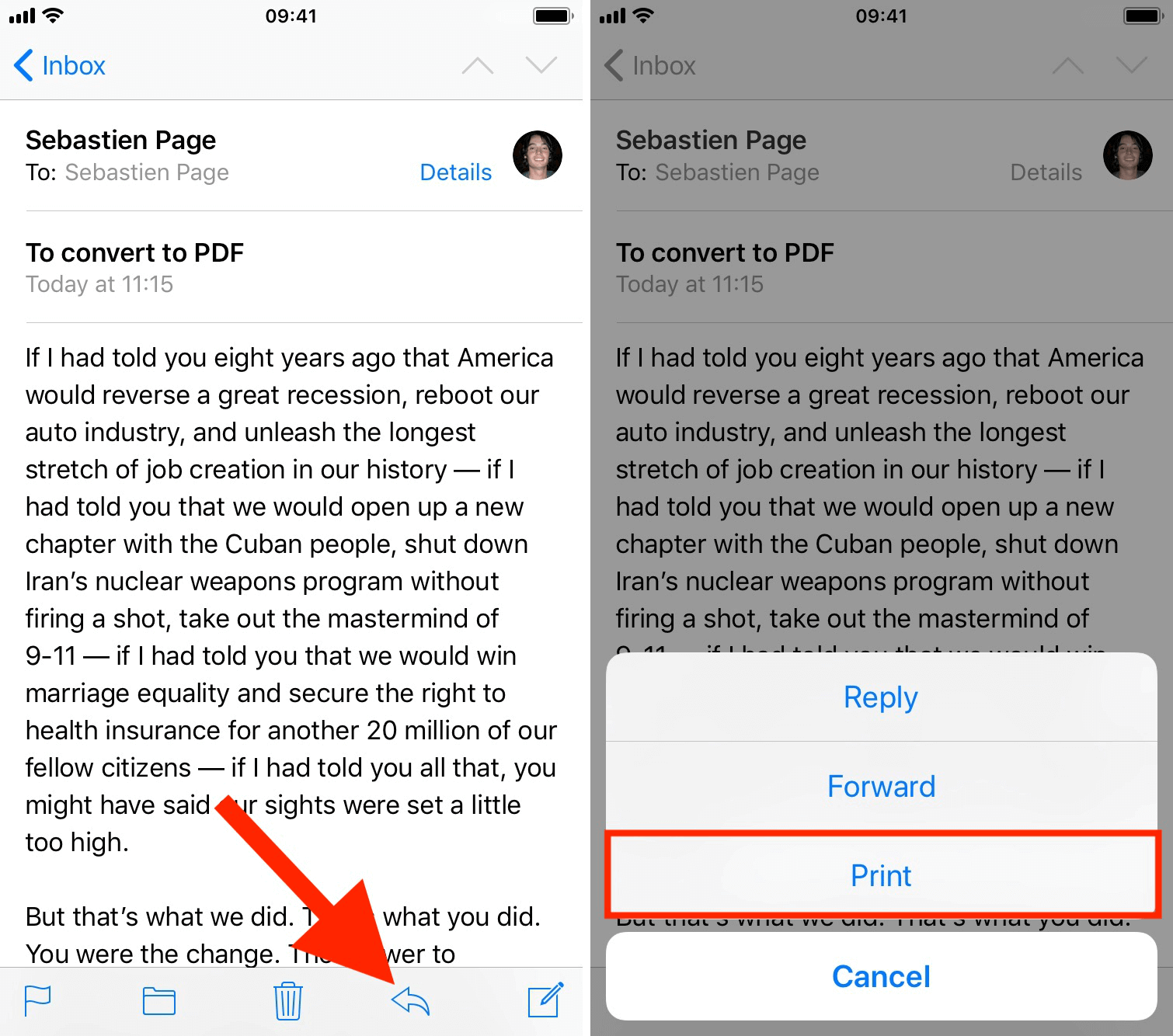 how to save files as pdf on iphone mail