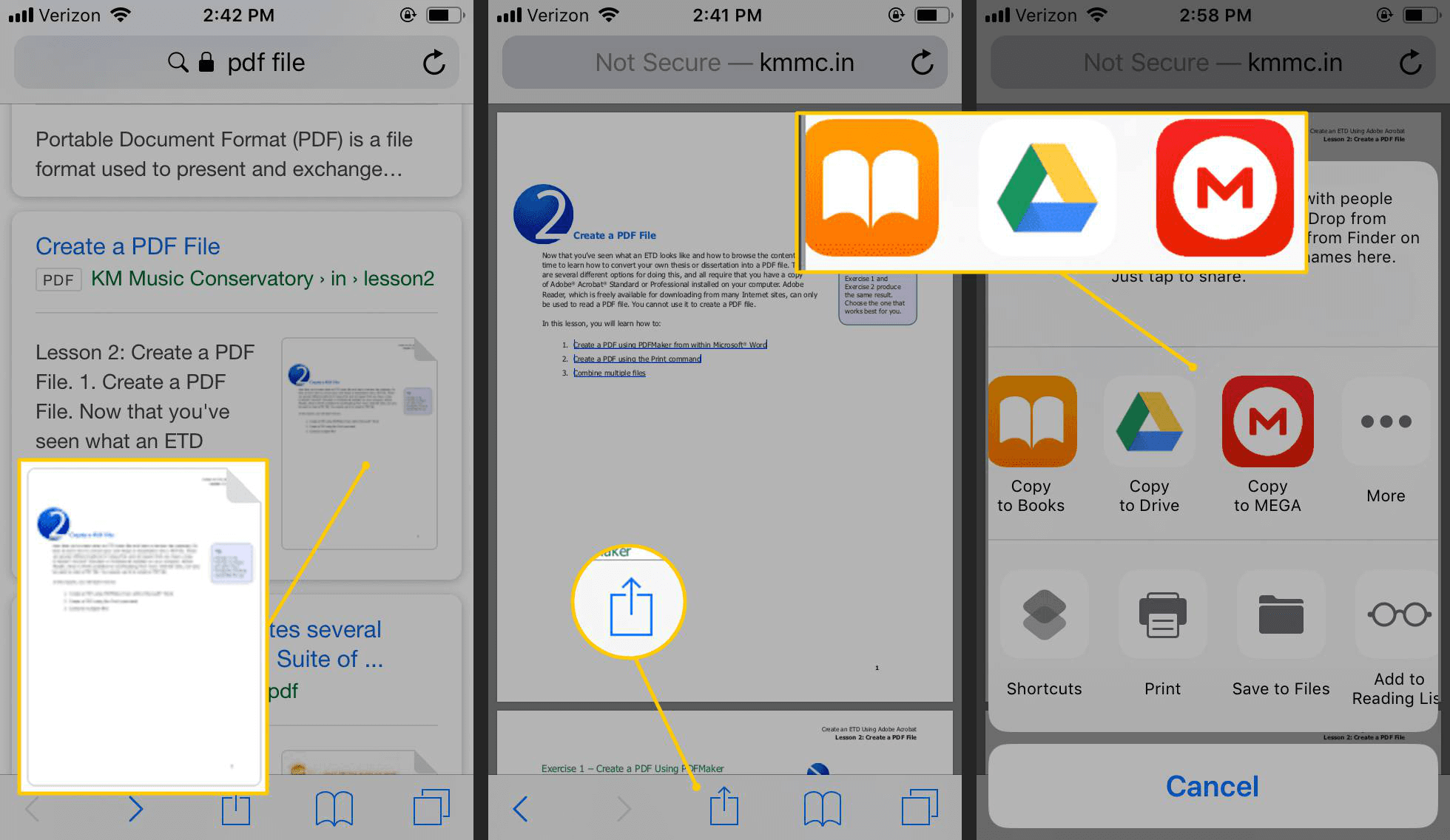 how to save pdf files to the other apps on iphone