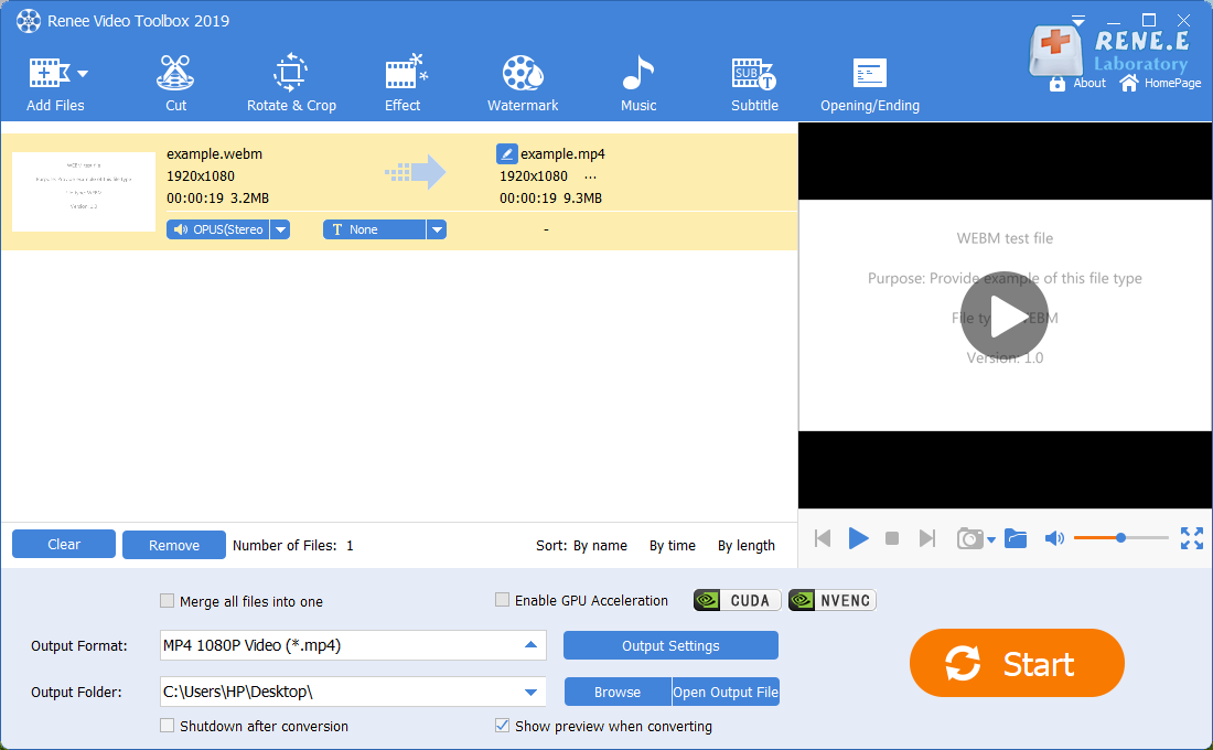 convert webm to mp4 with renee video editor pro
