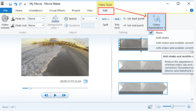 how to adjust video with movie maker