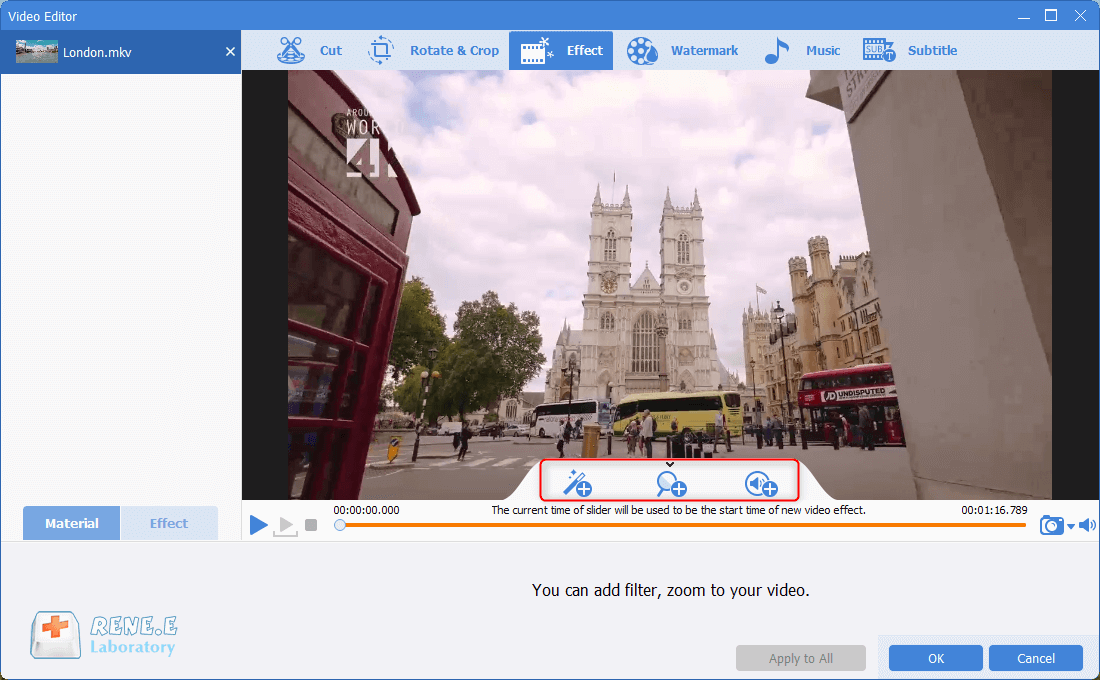 add special effects to mkv vidoe in renee video editor pro