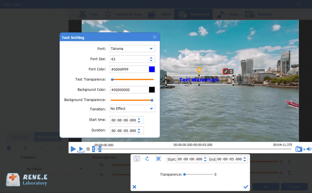 add and adjust text watermark to mkv video in renee video editor pro