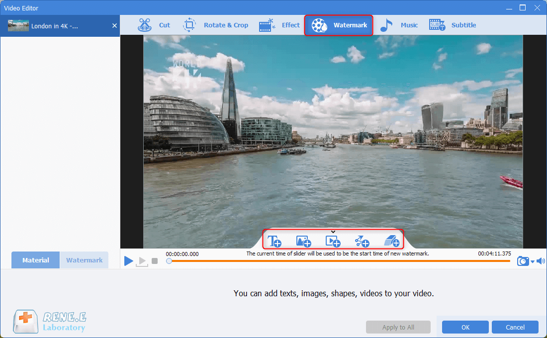 add watermakr to mkv video in renee video editor pro