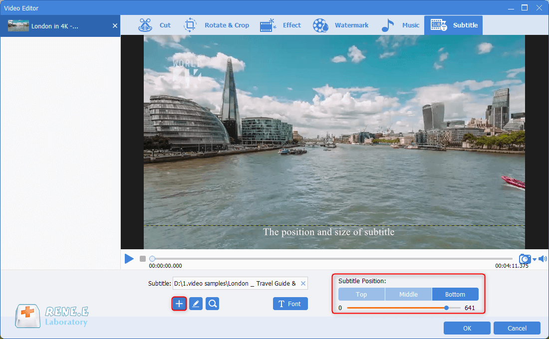 adjust font style and subtitle positiion for mkv video in renee video editor pro