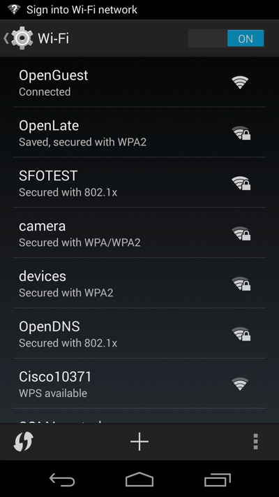 get into wifi settings in android