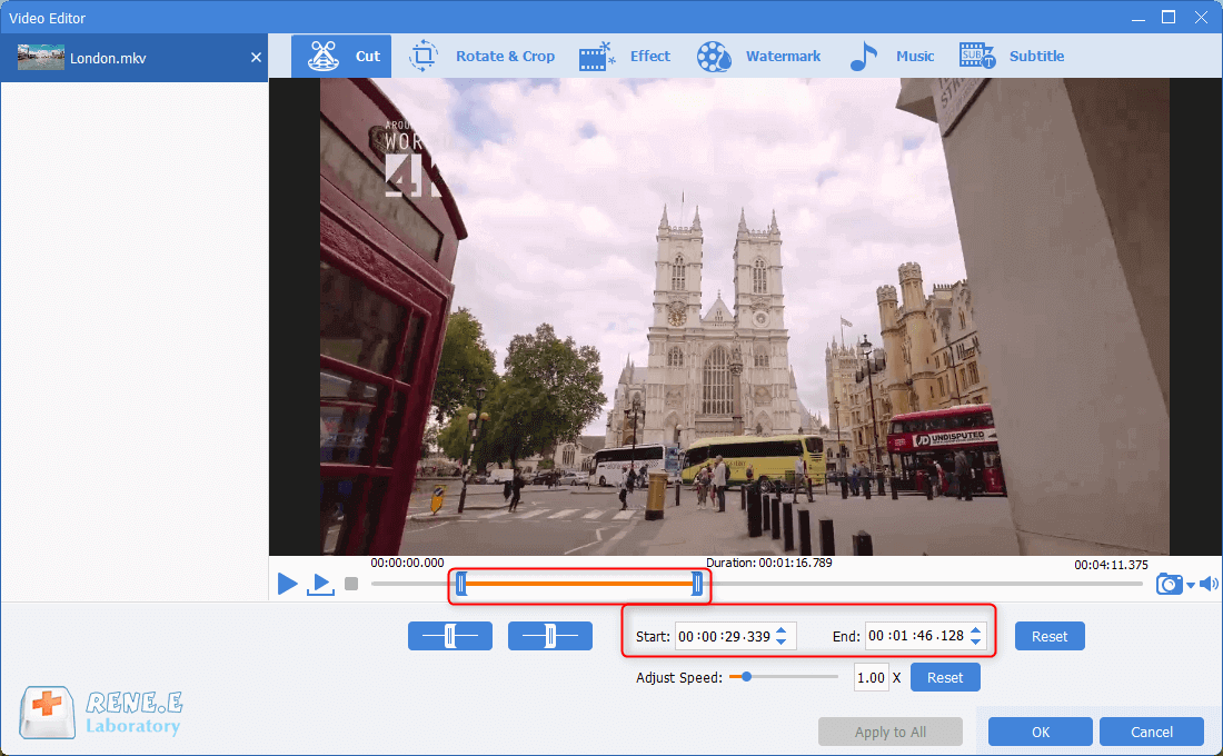 edit and cut mkv video in renee video editor pro