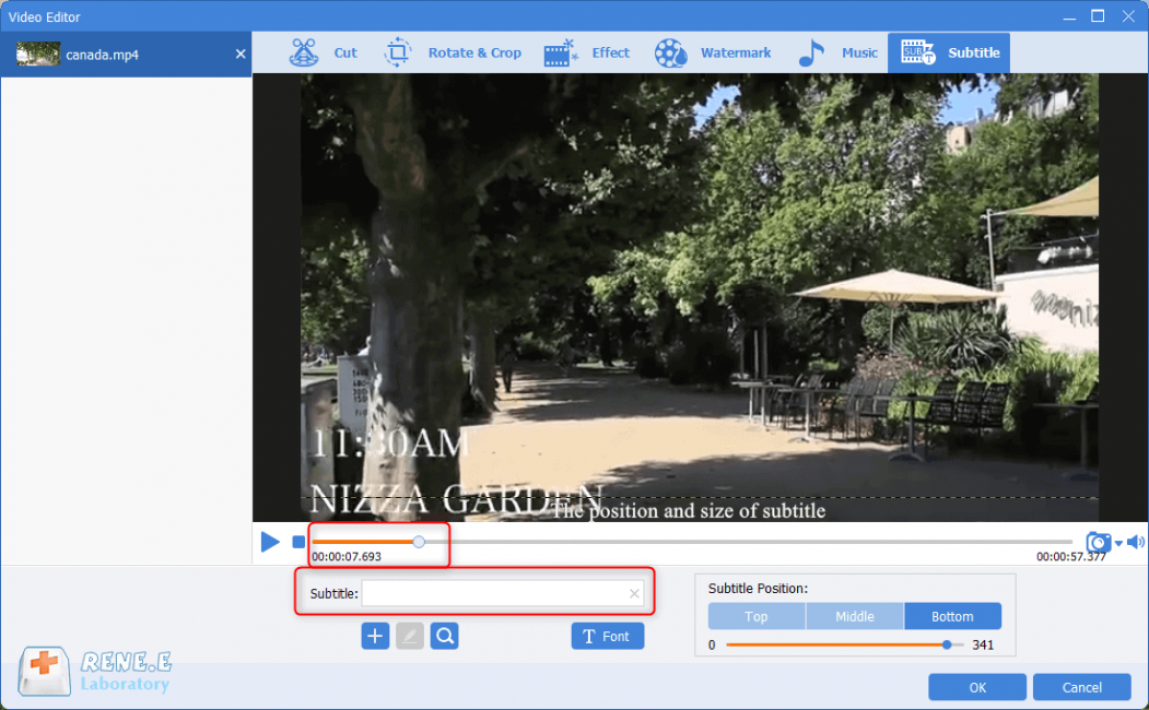 edit srt subtitle with renee video editor pro