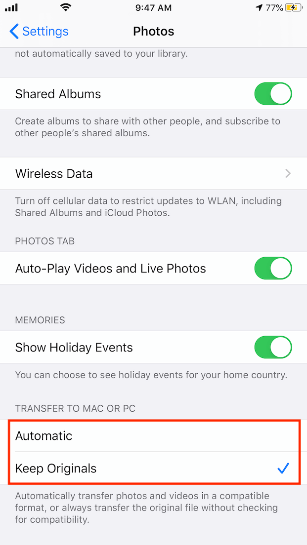 set to automatically transfer photos to mac or pc on iphone