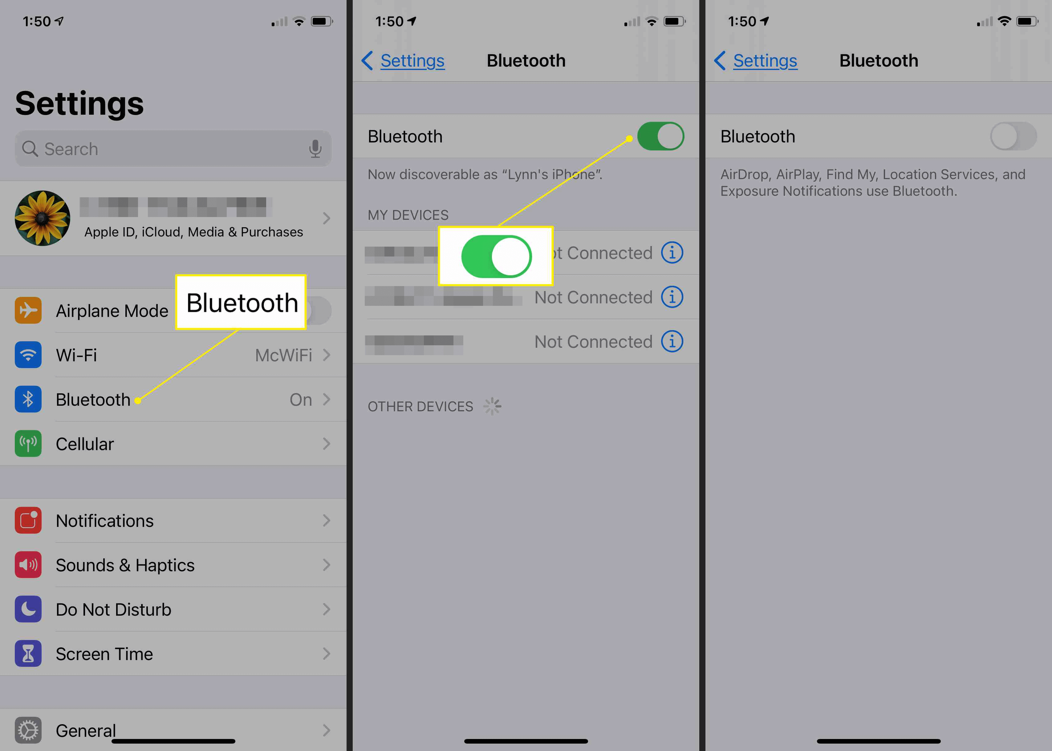 turn off iphone bluetooth function