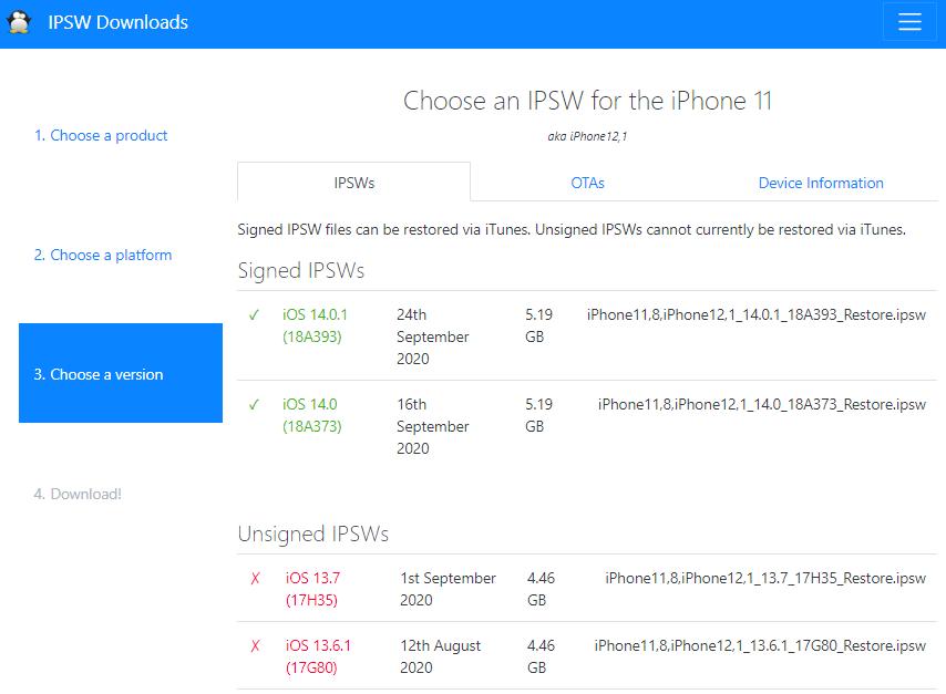 how to downgrade ios with ipsw