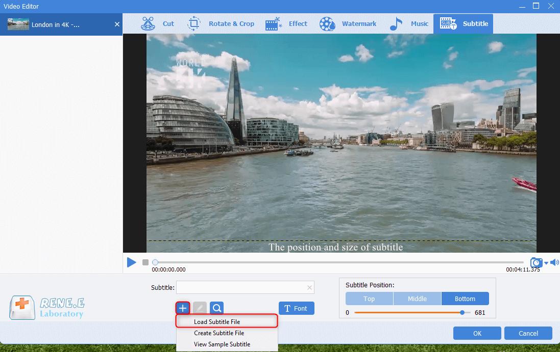 add srt subtitles to mkv videos in renee video editor pro