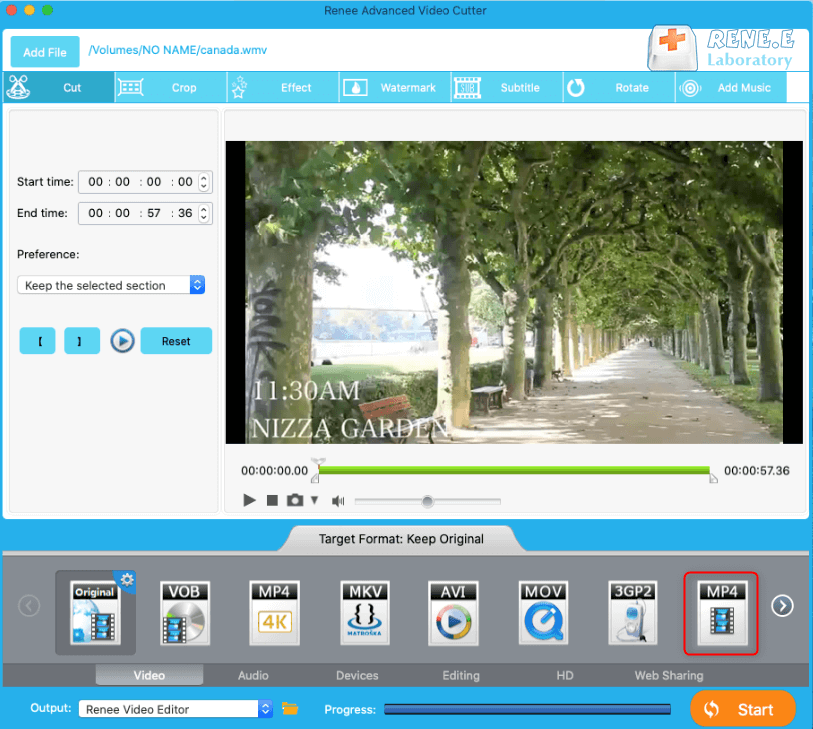 use renee video editor to convert wmv to mp4