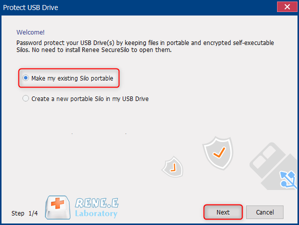 make password protect usb drive with renee securesilo