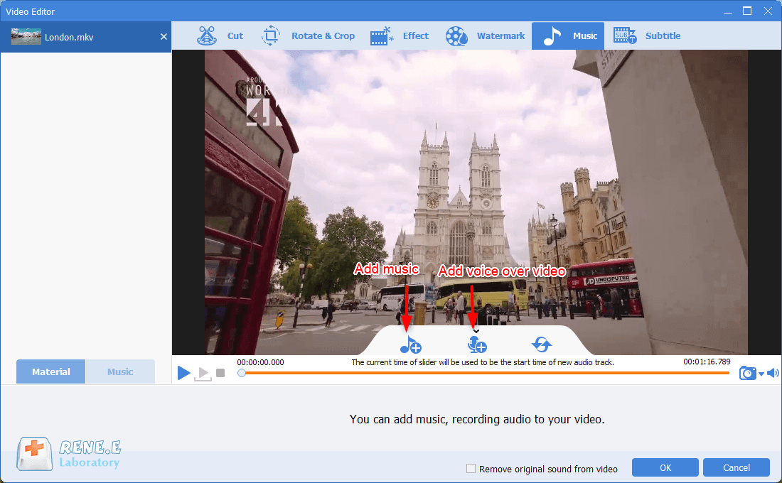 add background music to mkv video in renee video editor pro