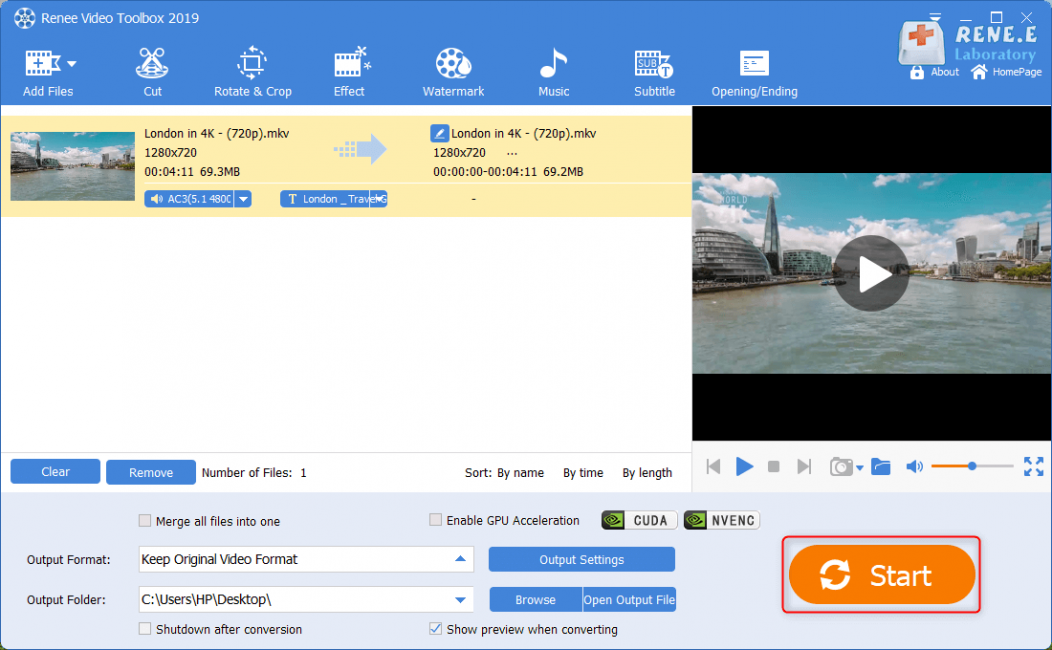 save and output mkv video in renee video editor pro