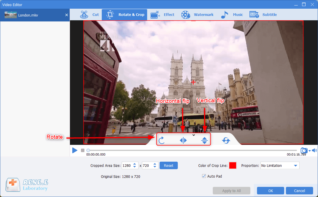 rotate and flip mkv video in renee video editor pro