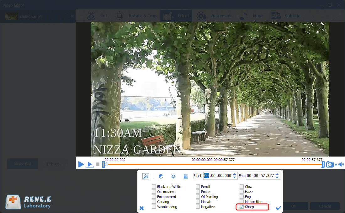 add the sharp filter in renee video editor pro