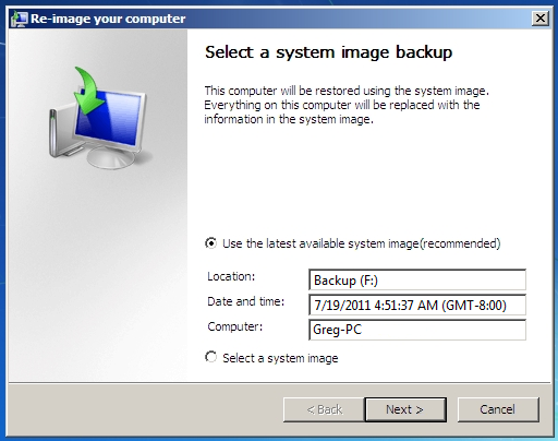 back up windows with system image recovery