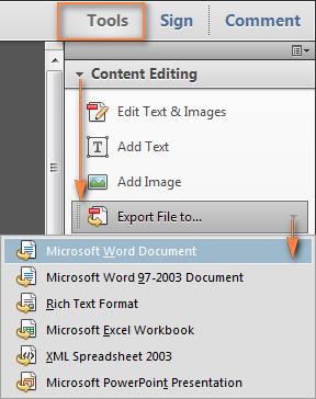 convert pdf to word with adobe acobat