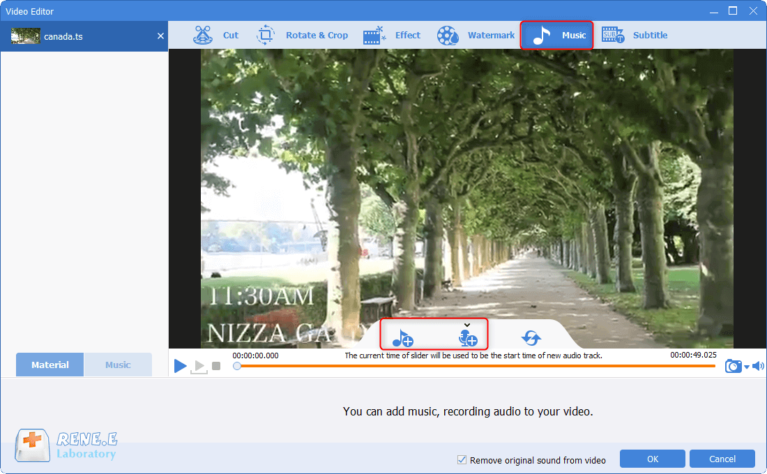 add background music to ts files with renee video editor pro