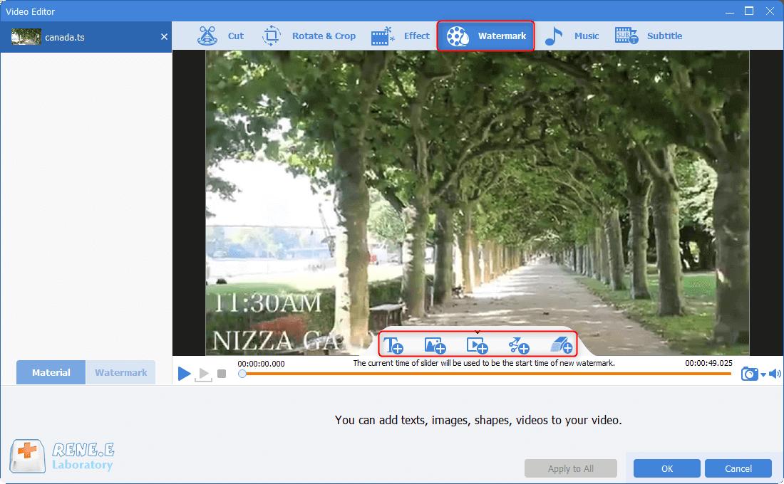 add watermark to ts files in renee video editor pro