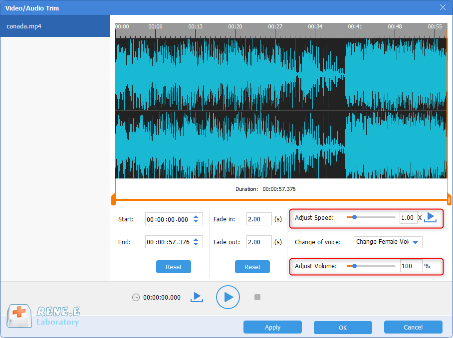 extract audio from mp4 and adjust speed and volume with renee audio tools