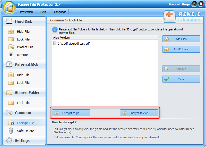 encrypt pdf to gfl or exe with renee file protector