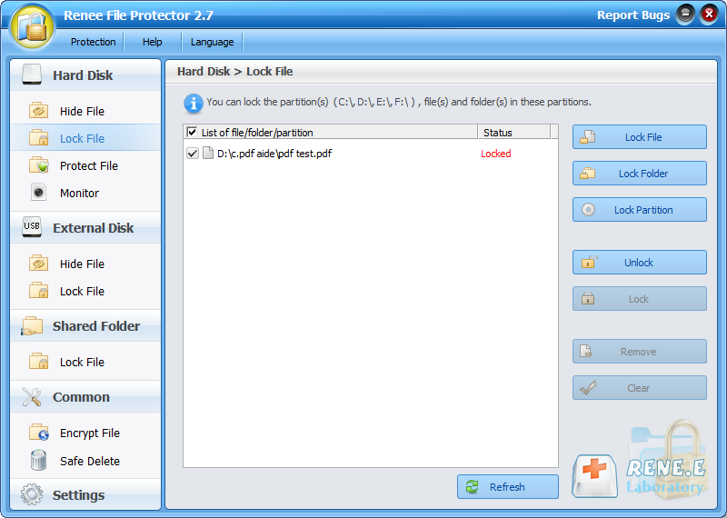 lock and unlock pdf file with renee file protector