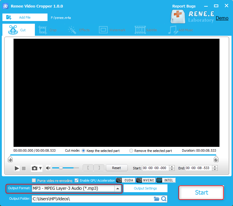 how to convert m4a to mp3 with renee video editor