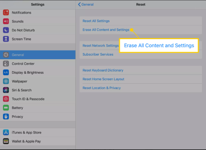 erase all contents and settings on ipad