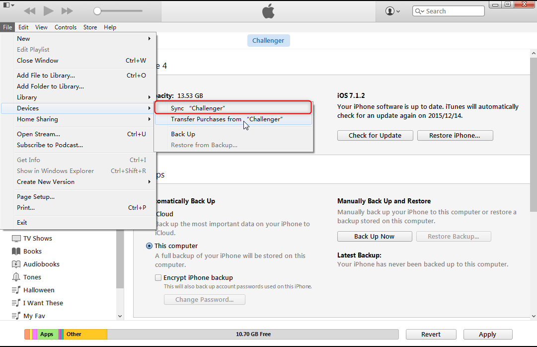 sync music to iphone devices in itunes