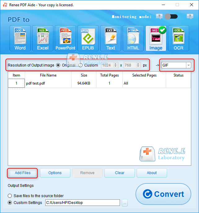 how to convert pdf to gif with renee pdf aide