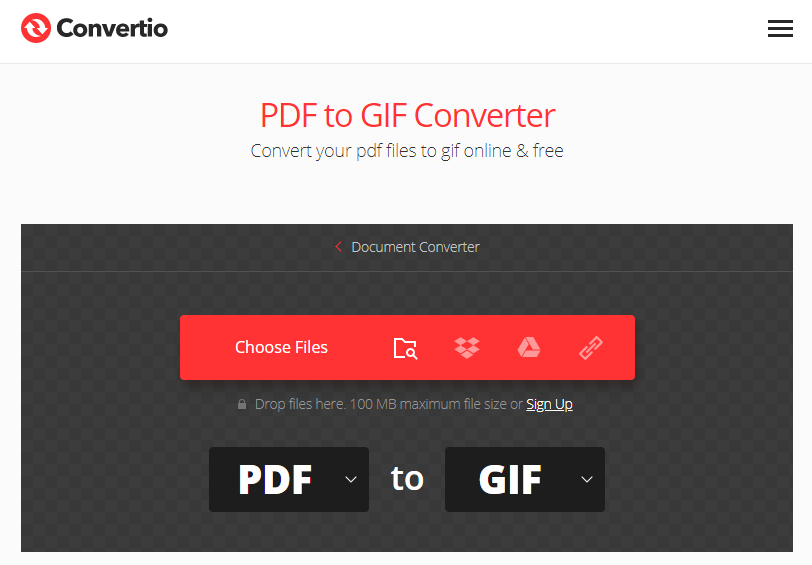 how to convert pdf to gif on convertio