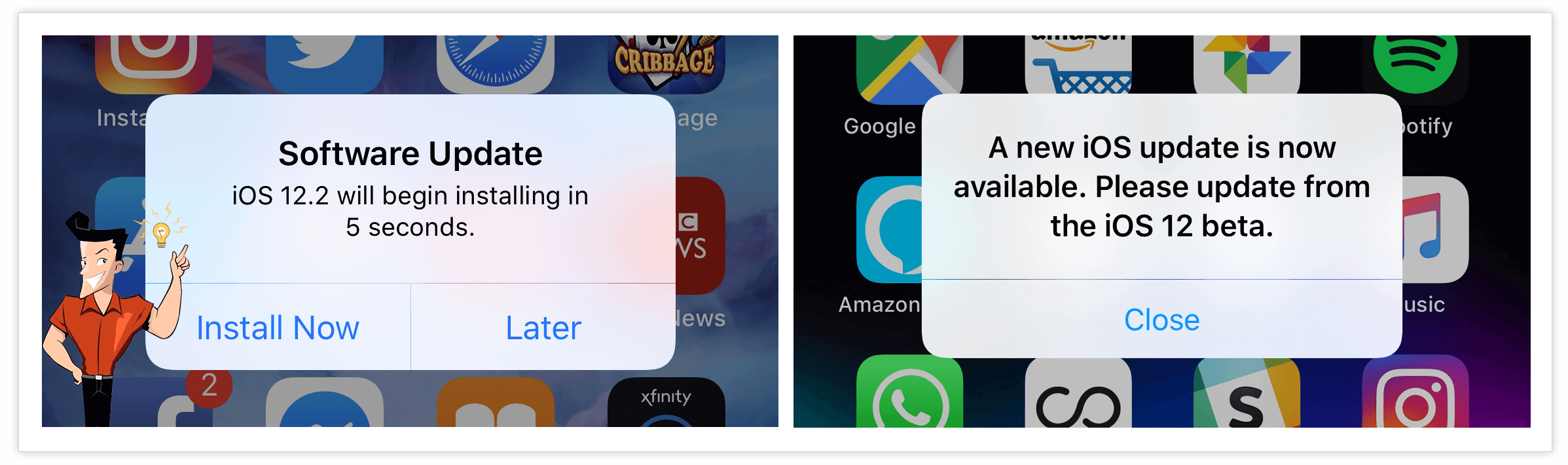 how to turn off iOS update notification