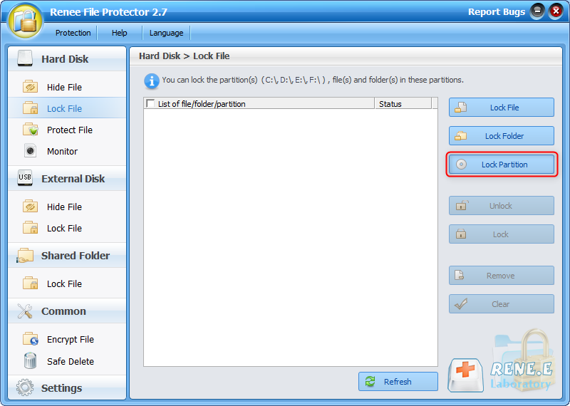 the best software renee file protector to lock partition