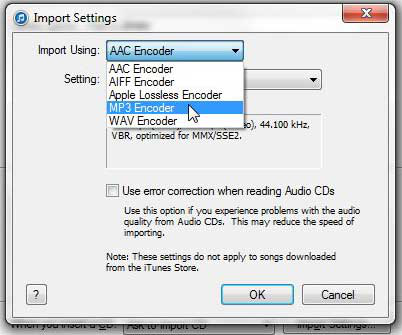 select mp3 encoder in itunes import settings