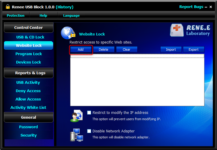 disable the network access in renee usb block