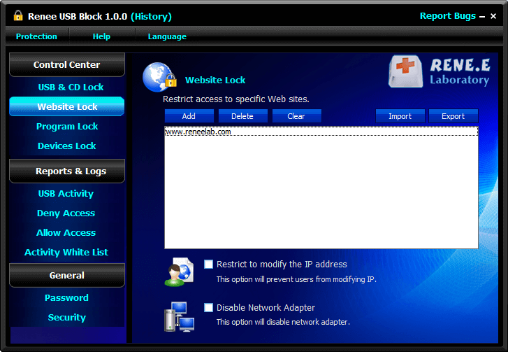 disable the network access with renee usb block