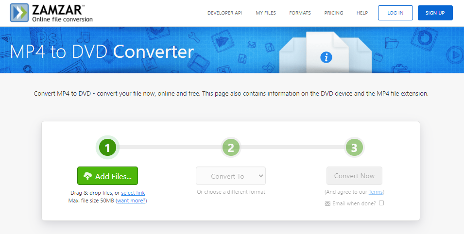 how to convert mp4 to dvd on zamzar