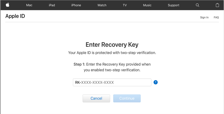enter the recovery key to recover apple id passcode