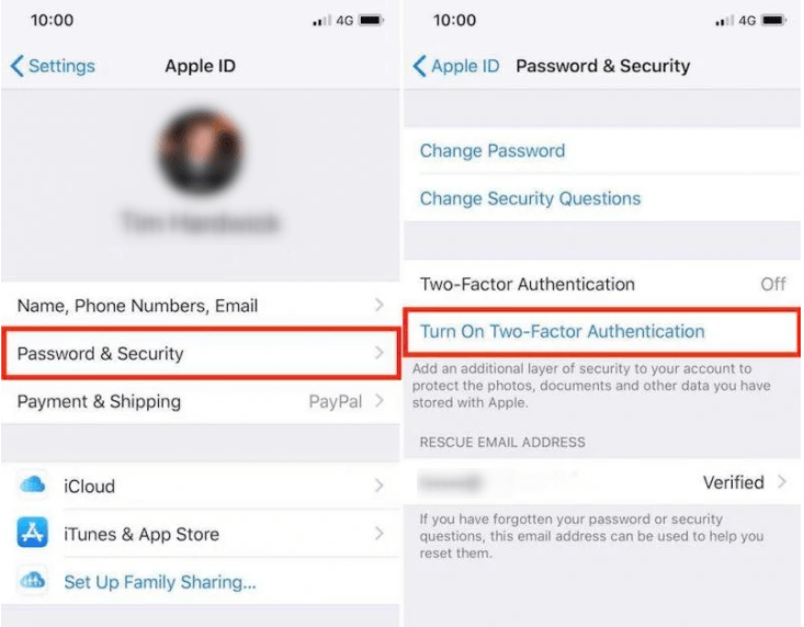 remove passcode from iphone via two factor authentication