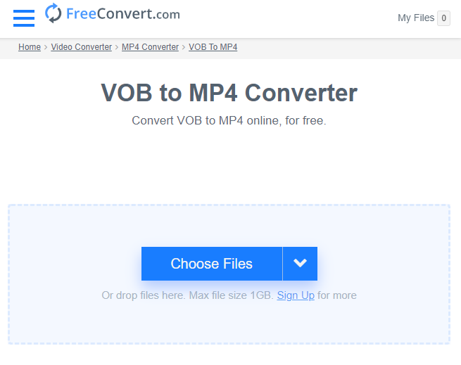 how to convert vob to mp4 on online freeconvert com