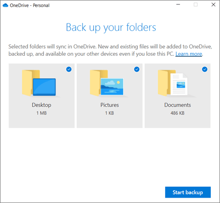 start to back up files to onedrive when no windows 10 recovery disk