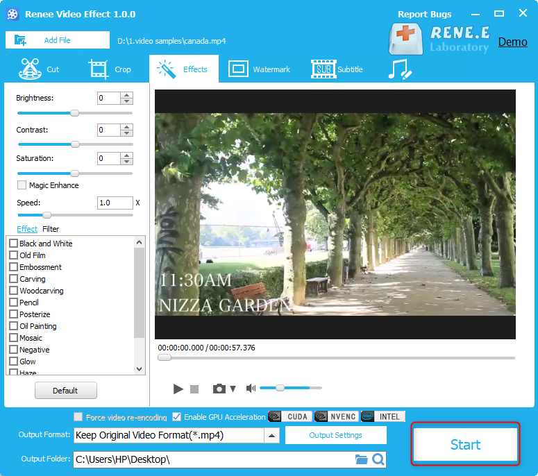 how to adjust video contast with renee video editor