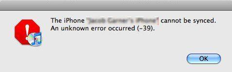solve the itunes error -39
