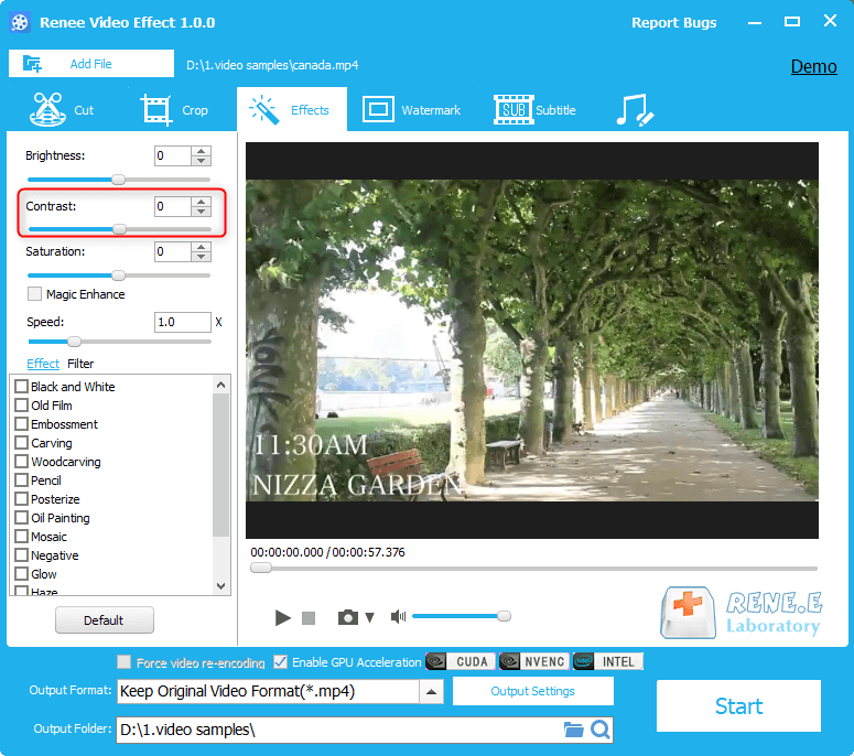 how to adjust video contrast with renee video editor