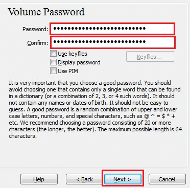 set the password in veracrypt