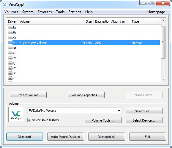 dismount the encrypted volume with veracrypt